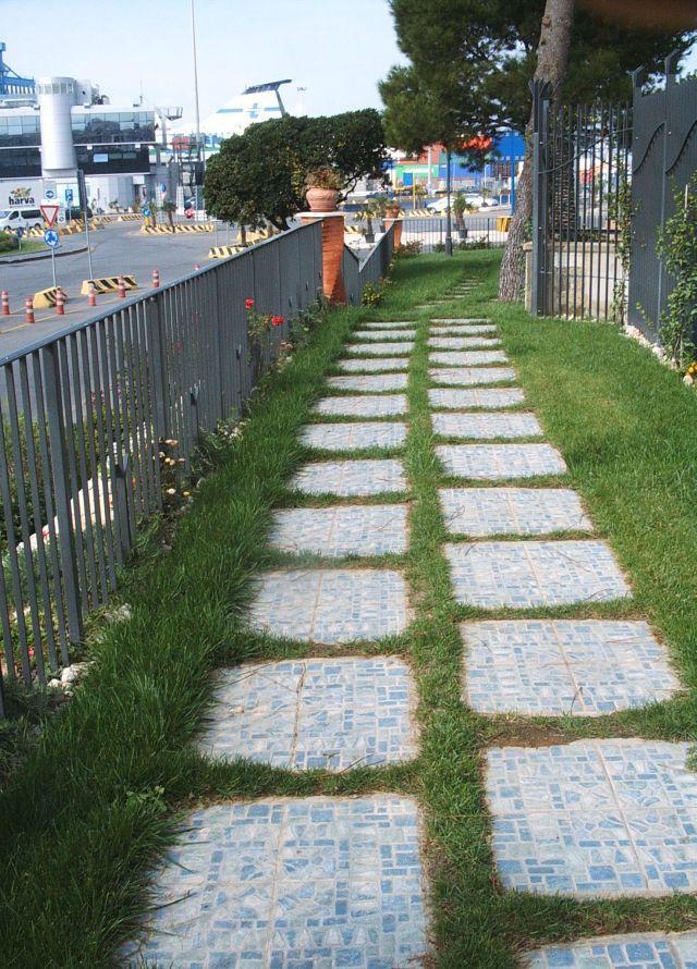 Lastra mattonella piastrella - Piastrelle giardino cemento ...